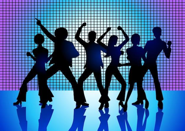 People disco dancing Premium Vector