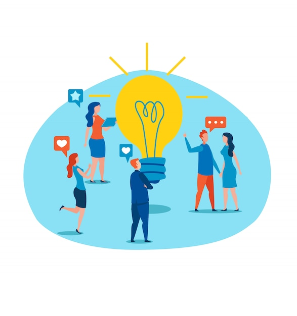 People discuss new idea standing by light bulb Premium Vector