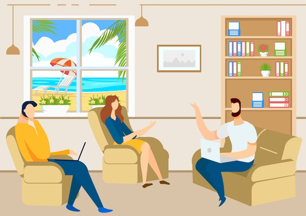 People discussing in office. business meeting. Premium Vector