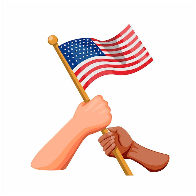 Premium Vector People Diversity Unity Symbol With Hand Holding American Flag American Independence Day Concept In Cartoon Illustration On White Background