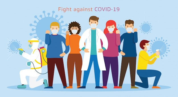 People and doctor wearing face mask fight against covid-19, coronavirus disease, health care and safety Premium Vector
