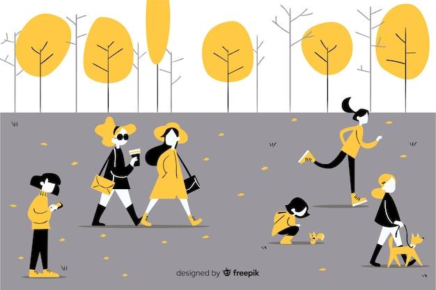 People doing activities in autumn park Free Vector