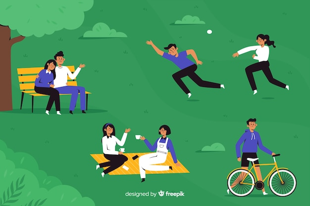 People doing activities in the park Free Vector