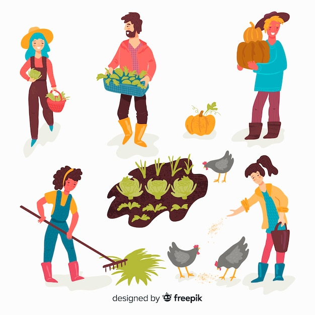 People doing agriculture Free Vector