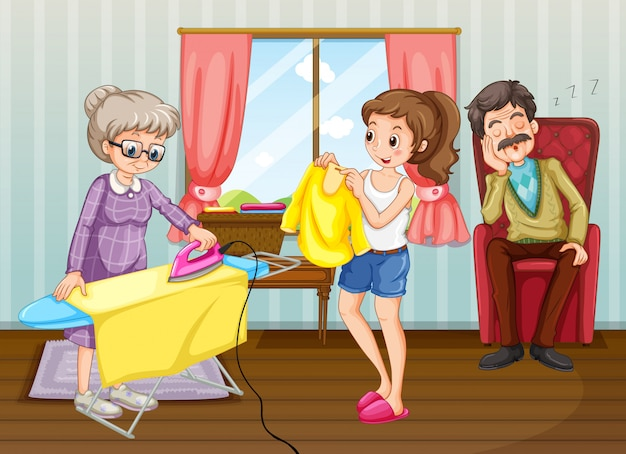 People doing chores in the house Premium Vector