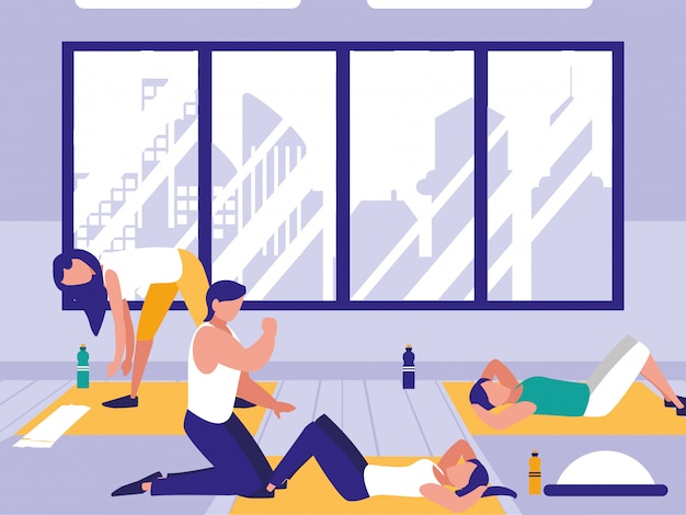 People doing crunches in the gym Premium Vector