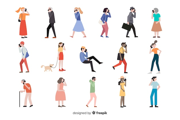 People doing different actions Free Vector