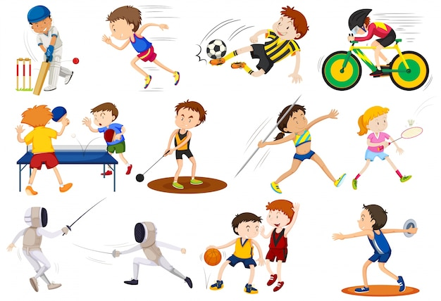 People doing different kinds of sports\ illustration