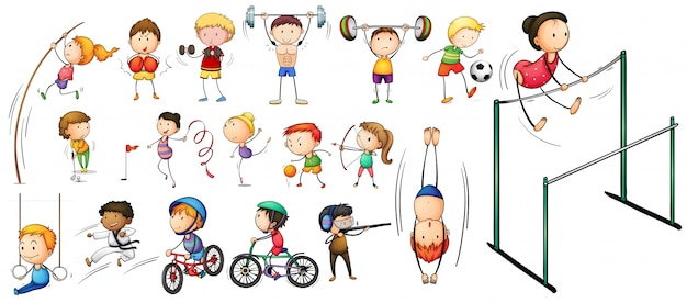 People doing different kinds of sports illustration Vector ...