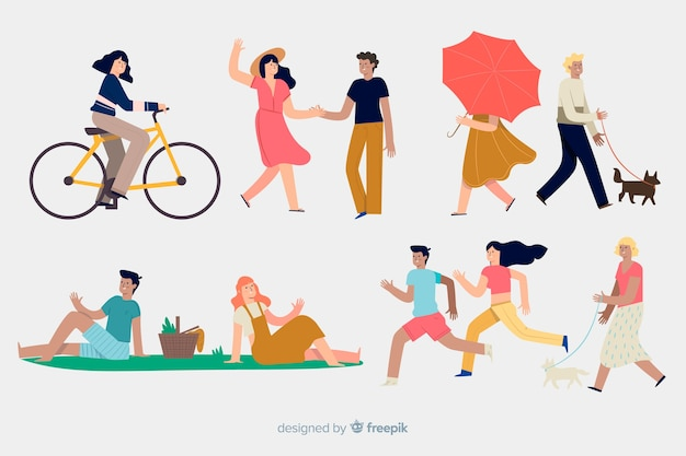 People doing different outdoor actions Free Vector