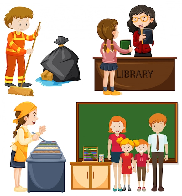 People doing different types of jobs Free Vector