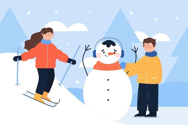 さまざまな冬の活動をしている人々 無料ベクター