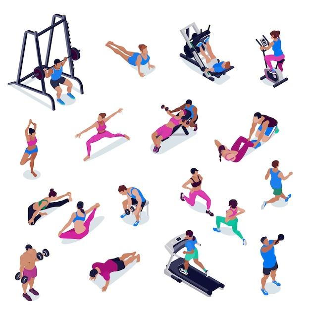 체육관에서 체력과 요가하는 사람들 무료 벡터
