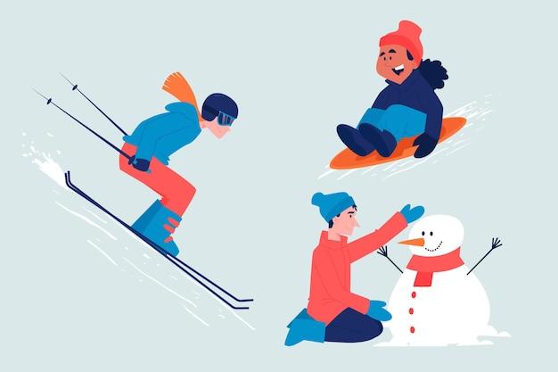 楽しい冬のアクティビティセットをしている人々 無料ベクター
