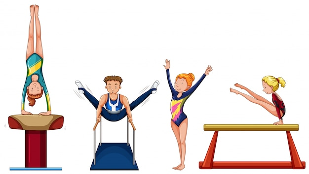 People doing gymnastics on different equipment illustration Free Vector