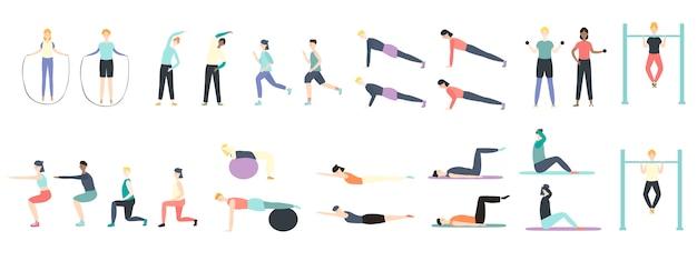 스포츠 그림 흰색에 고립 된 건강 운동의 건강 종류를하는 사람들. 프리미엄 벡터