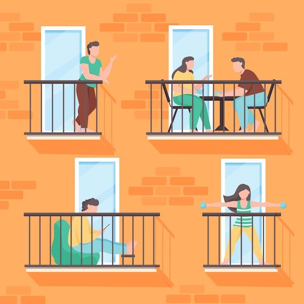 Persone che fanno attività ricreative sul balcone Vettore gratuito