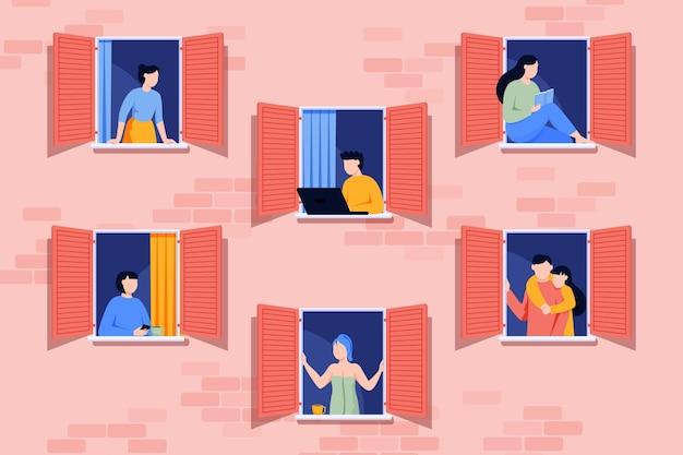 Persone che fanno attività ricreative su windows Vettore gratuito