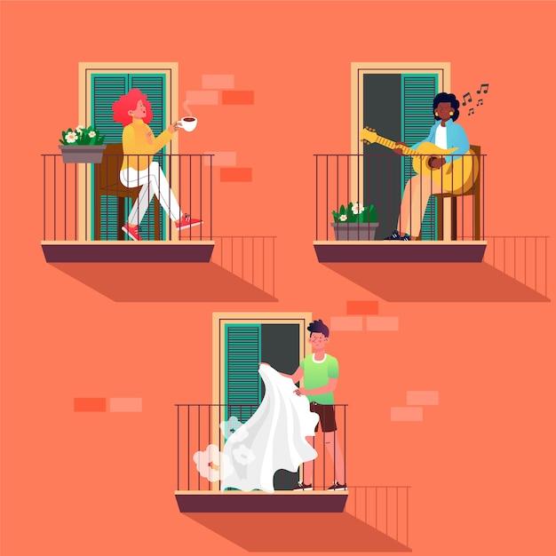 Persone che svolgono attività ricreative sui balconi Vettore gratuito