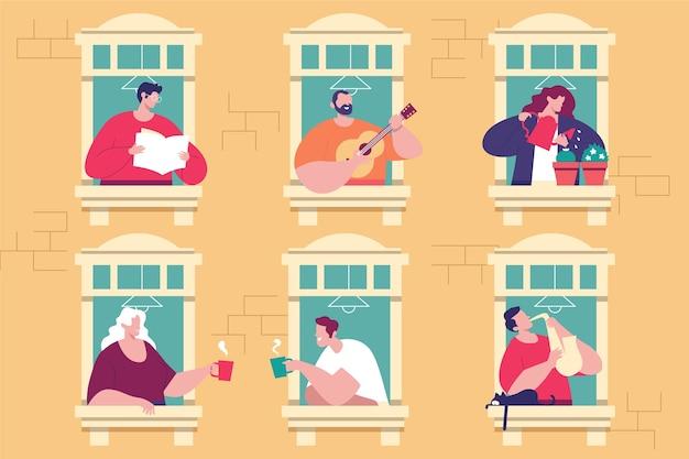 Persone che svolgono attività ricreative sul balcone Vettore gratuito