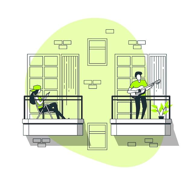 Люди делают досуг на балконе концепции иллюстрации Бесплатные векторы