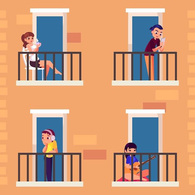 Люди, занимающиеся досугом на балконе Бесплатные векторы
