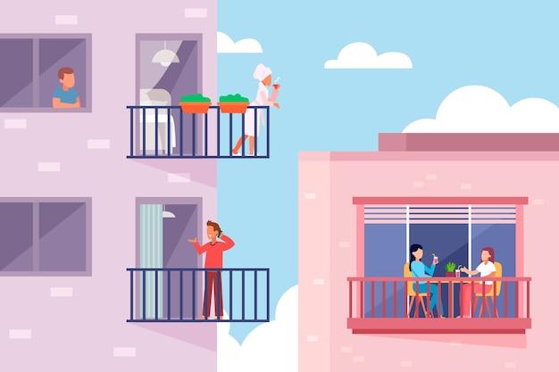 Люди, занимающиеся досугом на балконе Premium векторы
