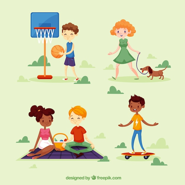 People doing leisure activities with flat design Free Vector