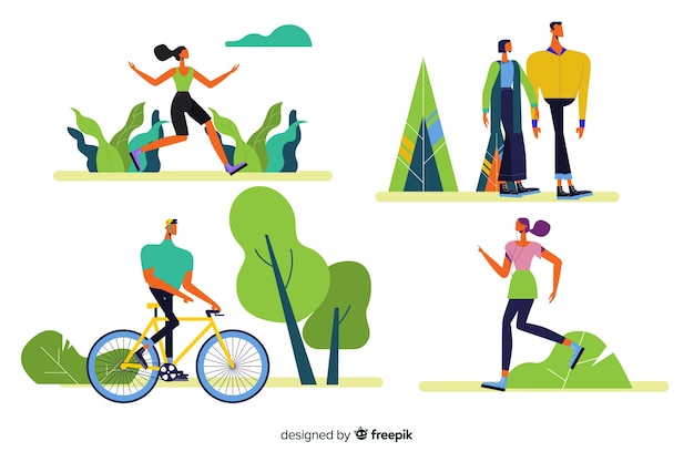 People doing outdoor activities collection Free Vector