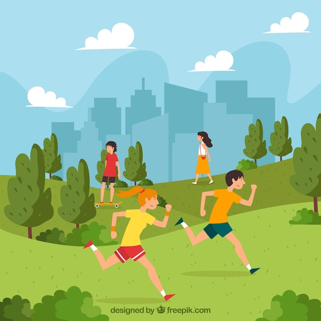 People doing outdoor activities with flat design Free Vector
