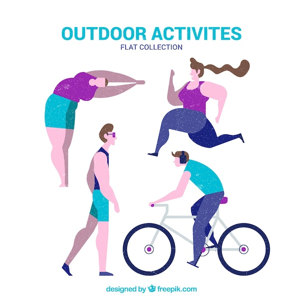 People doing outdoor activities with flat\ design