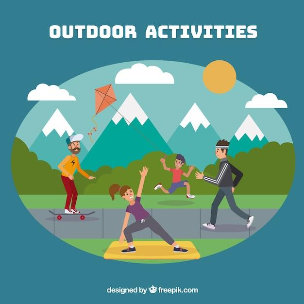 People doing outdoor activities with flat design Free Vector