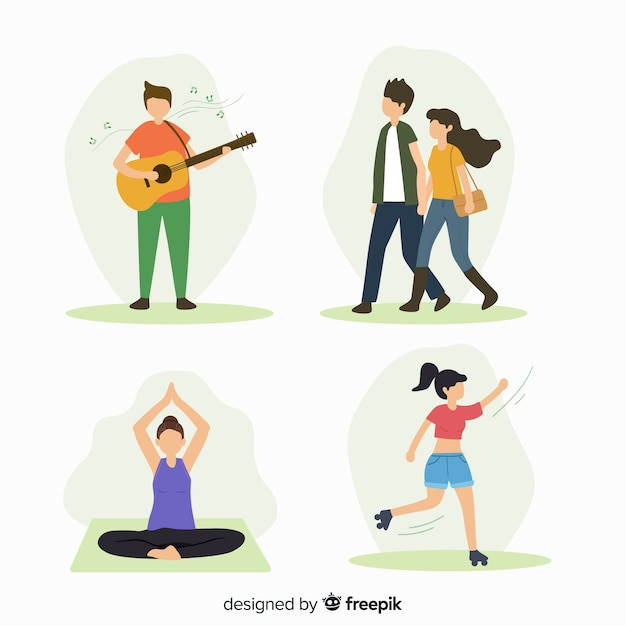 People doing outdoor activities Free Vector