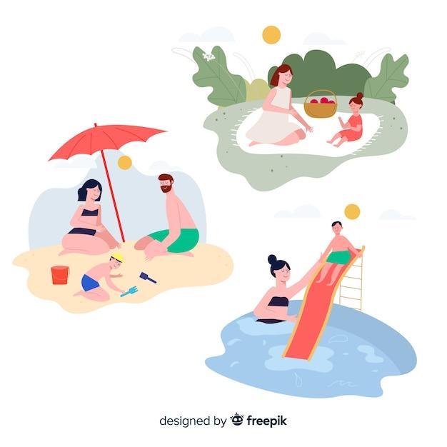 People doing outdoor activities Free Vector