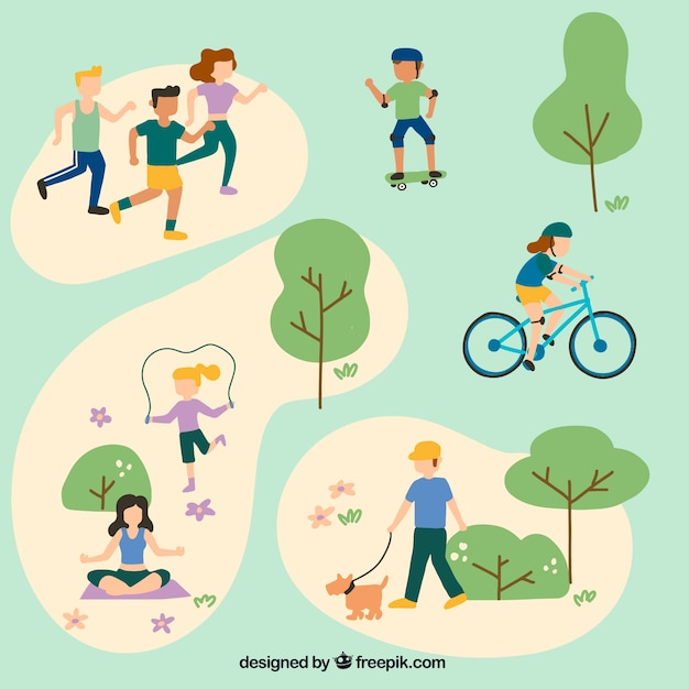 People doing outdoor leisure activities with flat design Free Vector