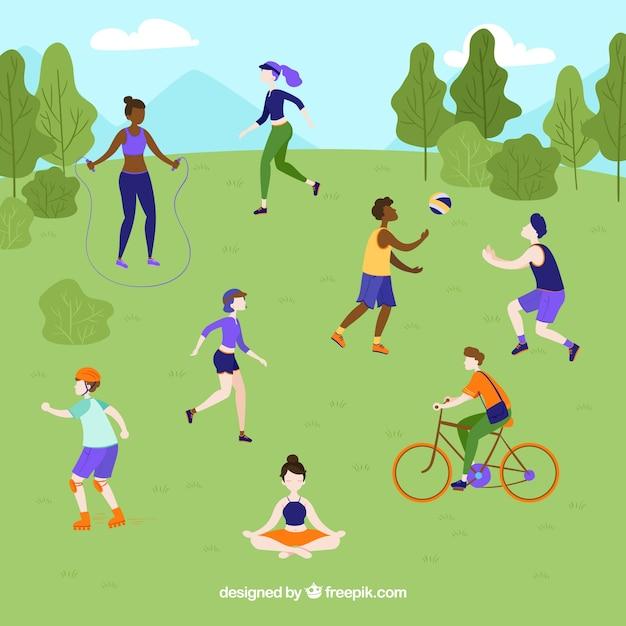 People doing outdoor leisure activities with flat design Free Vector