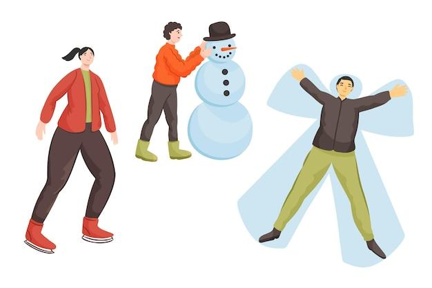 冬の野外活動をしている人 Premiumベクター