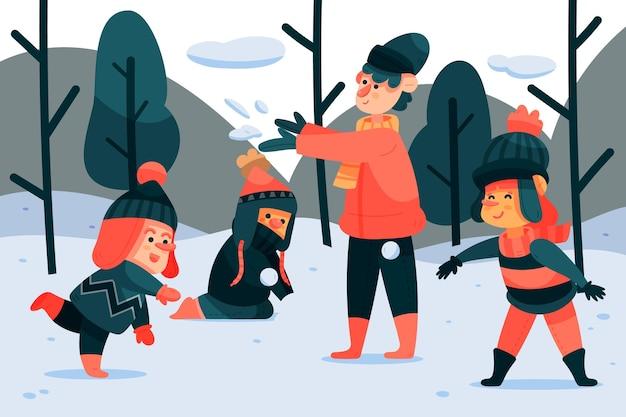 冬の野外活動をしている人 無料ベクター