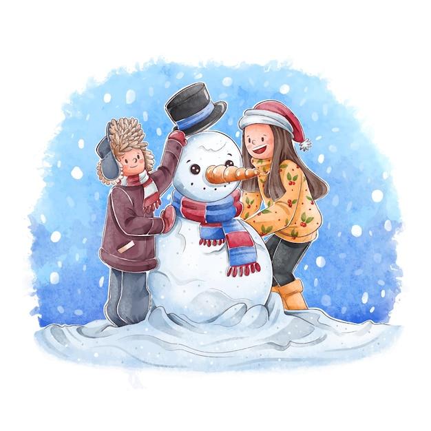 Persone che fanno attività invernali all'aperto Vettore gratuito