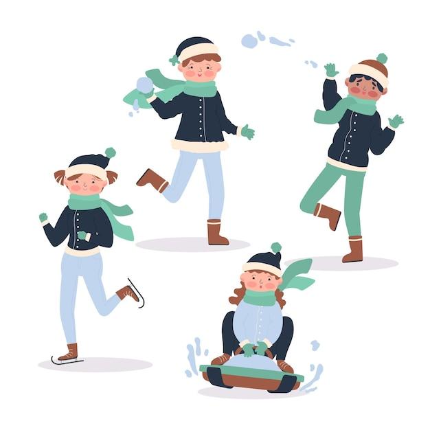 冬の外で活動している人 無料ベクター