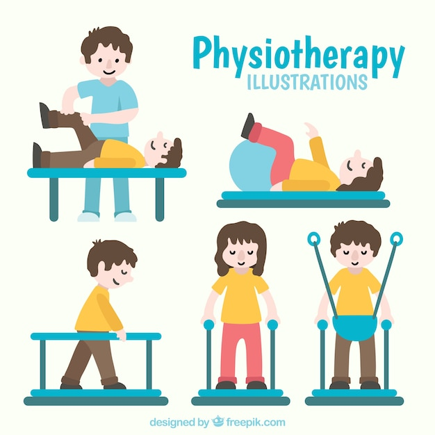 People doing physiotherapy exercises Free Vector