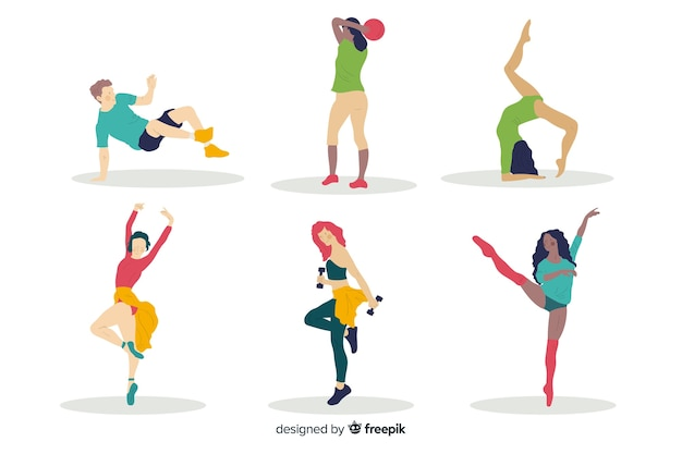 People doing sport collection Free Vector