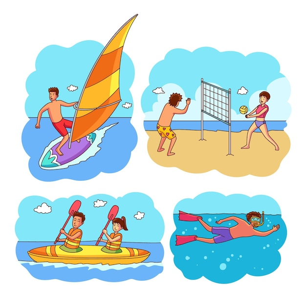 People doing sport outside Free Vector