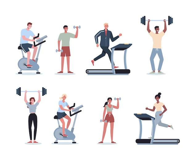 스포츠 세트를하는 사람들. 다른 스포츠 활동의 컬렉션. 스포츠를 하 고 젊은 성인. 여자와 남자 체육관에서 운동을 하 고 있습니다. 프리미엄 벡터