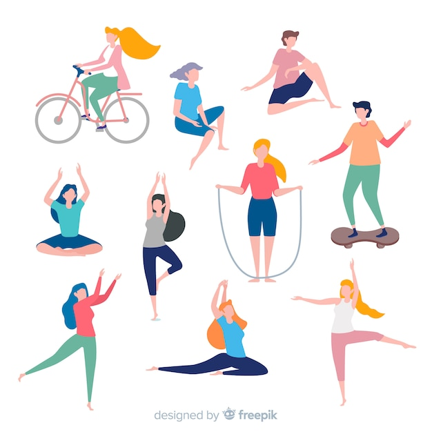 People doing sport Free Vector