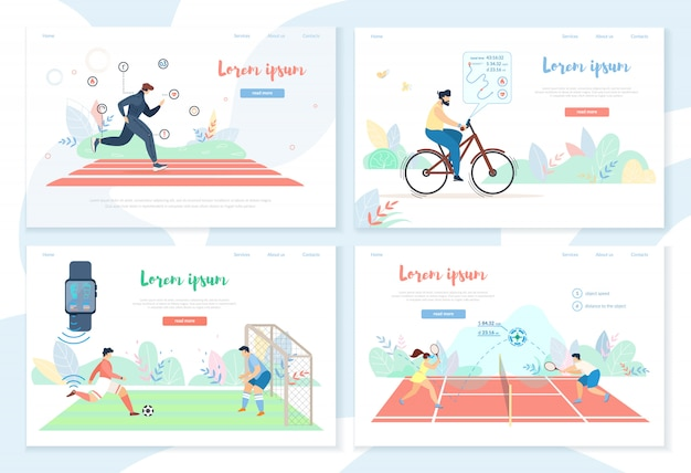 People doing sports activity with smart gadgets Premium Vector
