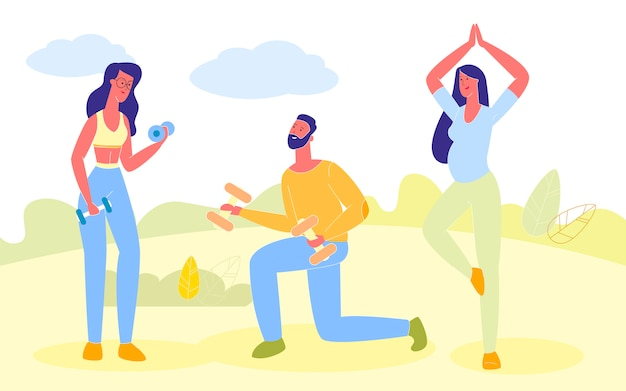 People doing sports exercises, pregnant girl yoga Premium Vector