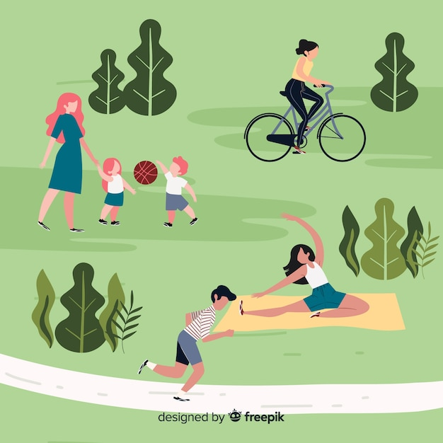 People doing sports in the park Free Vector