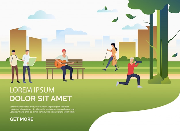 People doing sports and relaxing in city park, sample text Free Vector