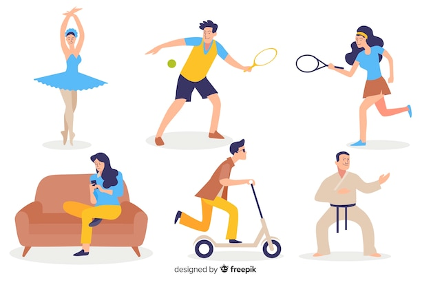 People doing sports Free Vector